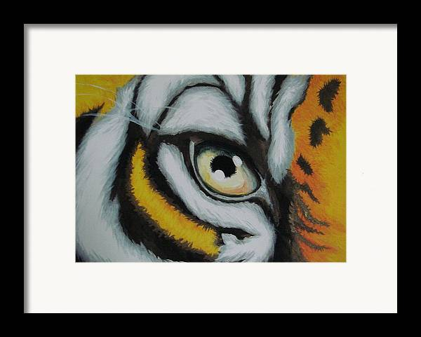 Animal Framed Print featuring the painting One Sided Look by Glory Fraulein Wolfe