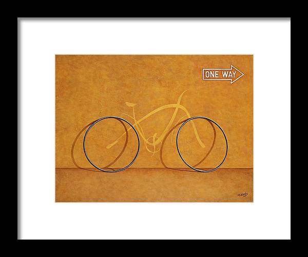 Bike Framed Print featuring the painting One Way by Horacio Cardozo