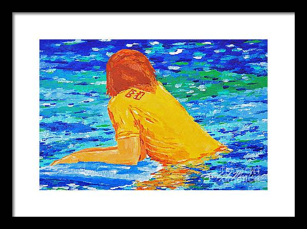 Beach Art Framed Print featuring the painting One With The Sea by Art Mantia