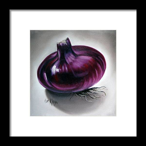 Kitchen Framed Print featuring the painting Onion by Ilse Kleyn