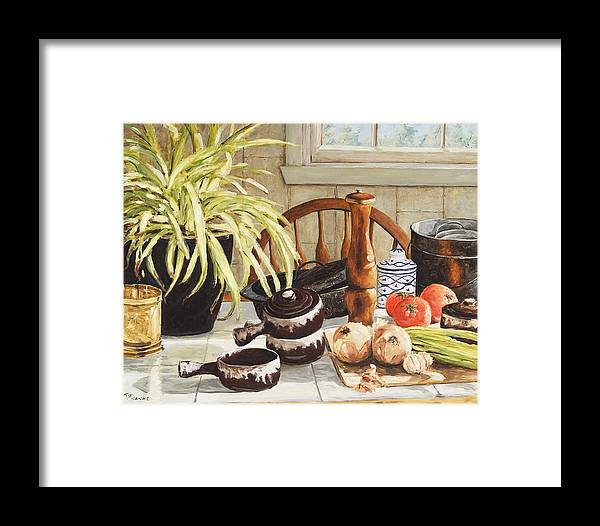 Onion Framed Print featuring the painting Onion Soup Tonight by Richard T Pranke
