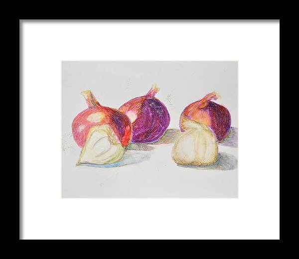 Still Life With Red Onions And Garlic Framed Print featuring the painting Onions And Garlic by MaryBeth Minton