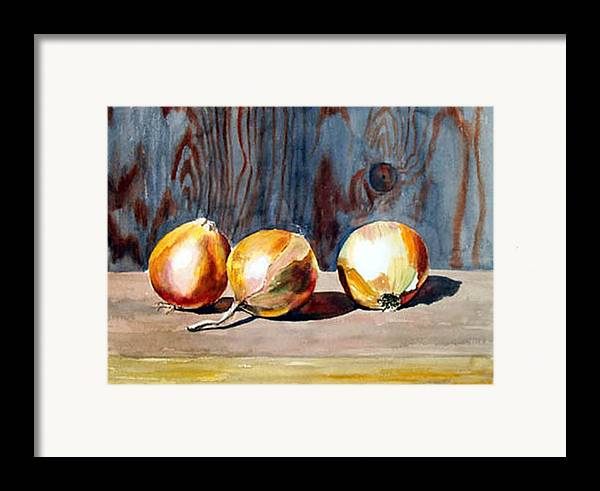 Still Life Framed Print featuring the print Onions In The Sun by Anne Trotter Hodge