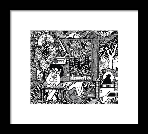 Drawing Framed Print featuring the drawing Only I Keep Watch Sleepy Listening by Jose Alberto Gomes Pereira