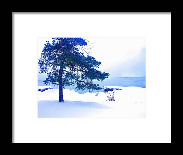 Landscape Framed Print featuring the digital art Ontario Blues by Jane Meakings