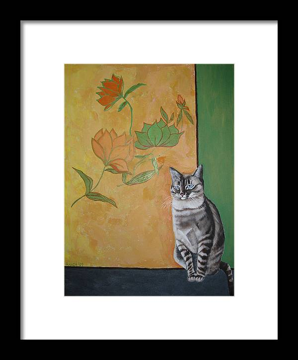 Cat Framed Print featuring the painting Oomka by Aliza Souleyeva-Alexander