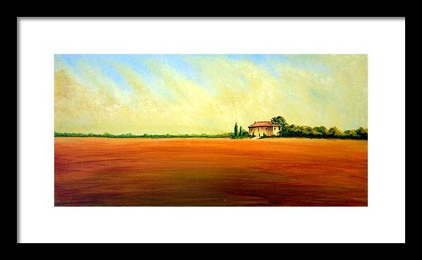 Landscape Framed Print featuring the painting Open Field by Wesley Pack