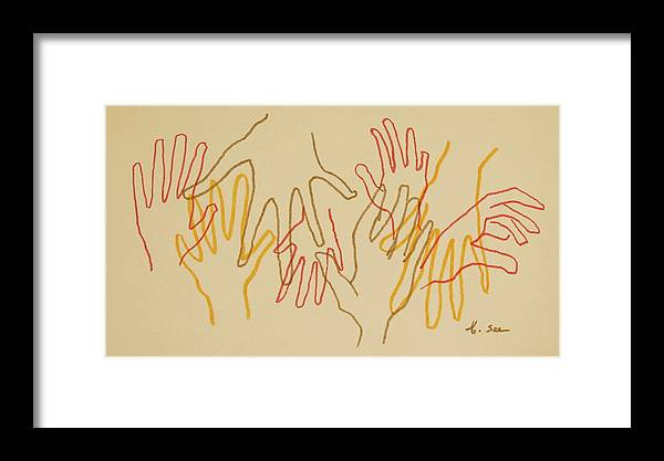 Line Drawing Framed Print featuring the photograph Open Hands Drawing by Bonnie See