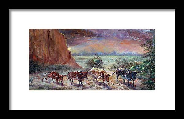 Cattle Framed Print featuring the painting Open Range by Tommy Winn
