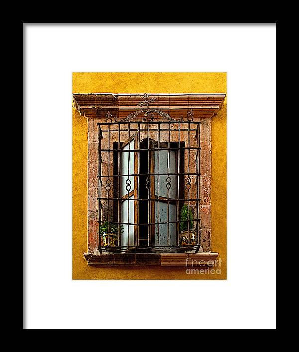 Darian Day Framed Print featuring the photograph Open Window In Ochre by Mexicolors Art Photography