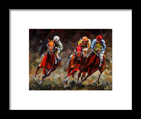 Horse Race Framed Print featuring the painting Opening Day by Debra Hurd