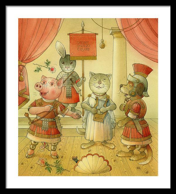 Opera Singer Animals Cat Pig Dog Rabbit Giulio Cesare Framed Print featuring the painting Opera by Kestutis Kasparavicius