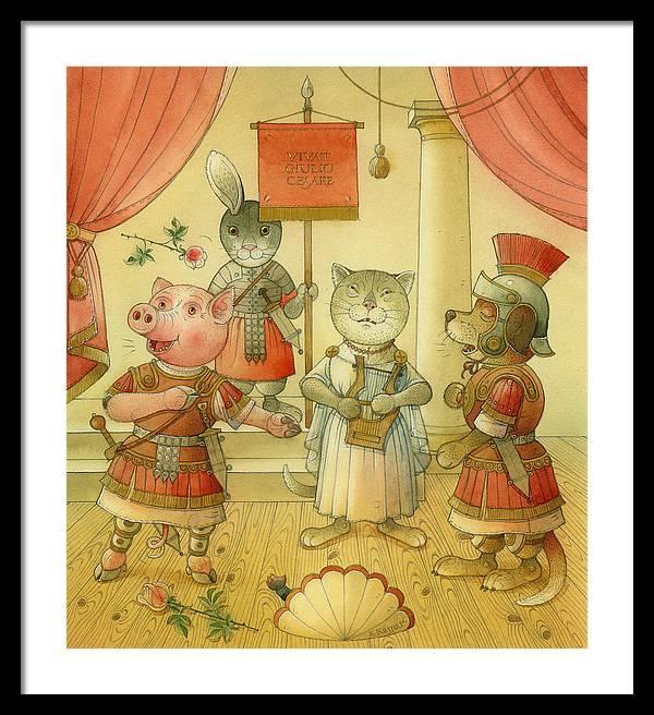 Opera Singer Animals Cat Pig Dog Rabbit Giulio Cesare Framed Print featuring the painting Opera by Kestutis Kasparavicius