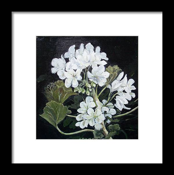 White Geranium Framed Print featuring the painting Opposite Attraction by Irene Corey