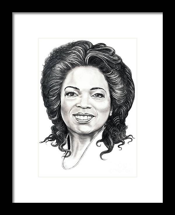 Oprah Framed Print featuring the drawing Oprah Winfrey by Murphy Elliott