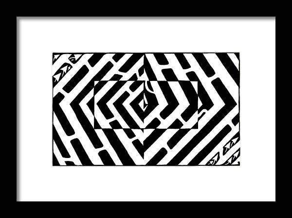 Optical Illusion Framed Print featuring the drawing Optical Illusion Maze Of Floating Box by Yonatan Frimer Maze Artist