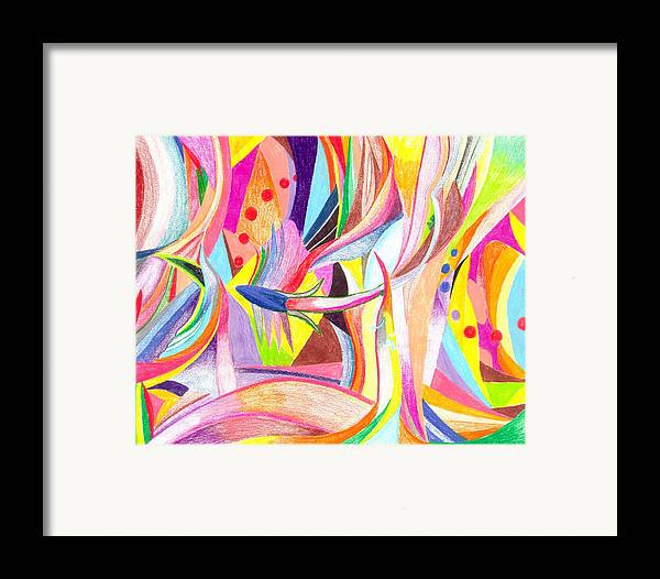 Abstract Framed Print featuring the drawing Optimism by Peter Shor