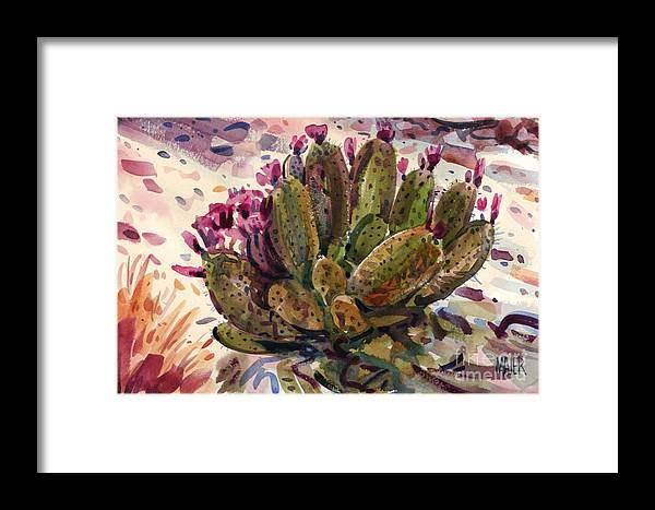Opuntia Cactus Framed Print featuring the painting Opuntia Cactus by Donald Maier