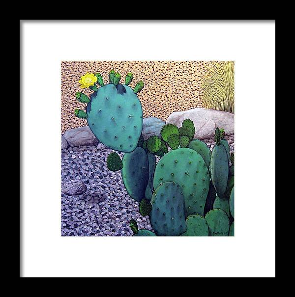Landscape Framed Print featuring the painting Opuntia by Snake Jagger