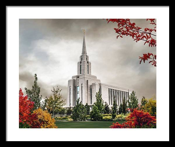 Oquirrh Framed Print featuring the painting Oquirrh Mountain Temple by Brent Borup