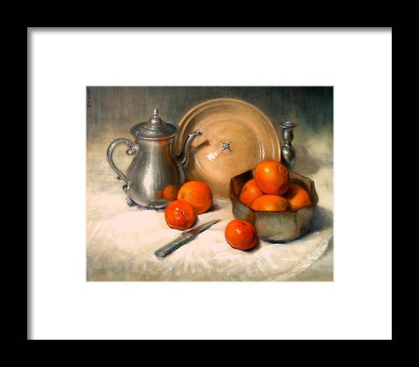 Realism Framed Print featuring the painting Orange And Gray by Donelli DiMaria