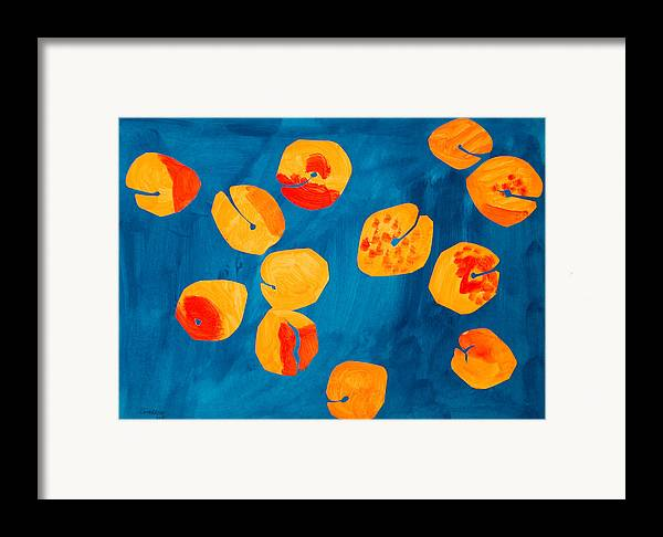 Apricot Framed Print featuring the painting Orange Apricots by Vitali Komarov