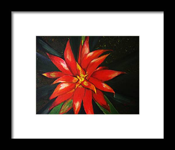 Floral Framed Print featuring the painting Orange Blossom by Julie Lamons