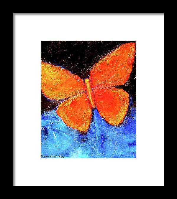 Butterfly Framed Print featuring the painting Orange Butterfly by Noga Ami-rav