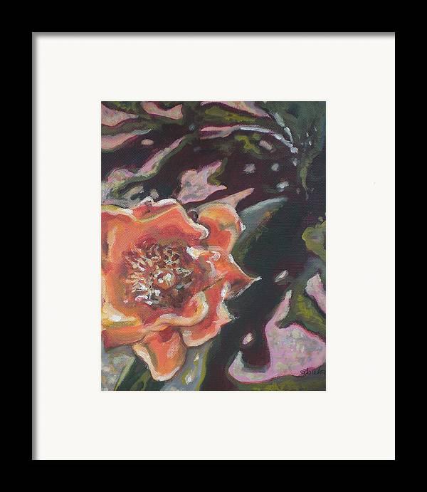 Orange Framed Print featuring the painting Orange Cactus Blossom by Aleksandra Buha