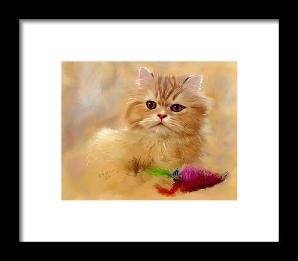 Kitty Framed Print featuring the painting Orange Cat by Diana Ralph