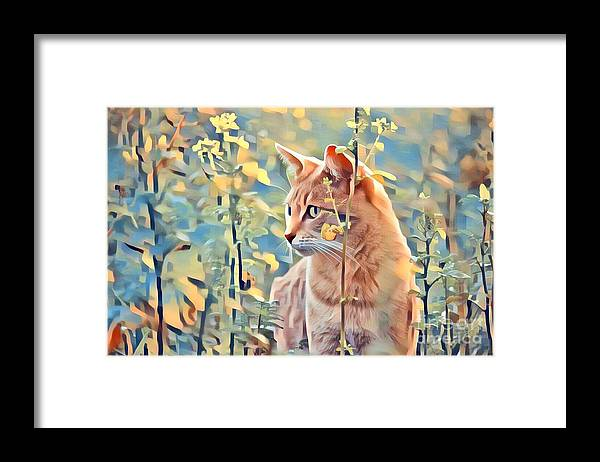 Animal Framed Print featuring the photograph Orange Cat In Field Of Yellow Flowers by Tarisa Smith