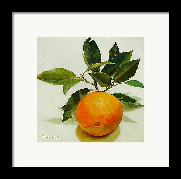 Floral Painting Framed Print featuring the painting Orange Cueillie by Muriel Dolemieux