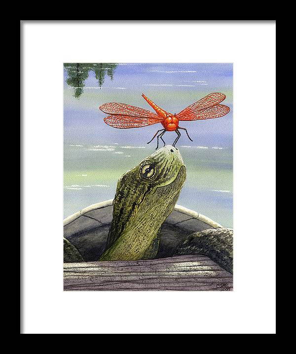Dragonfly Framed Print featuring the painting Orange Dragonfly by Catherine G McElroy