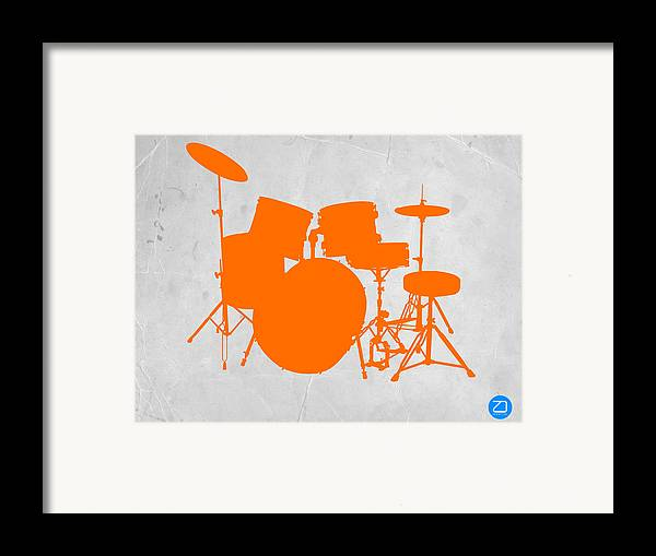 Drums Framed Print featuring the photograph Orange Drum Set by Naxart Studio