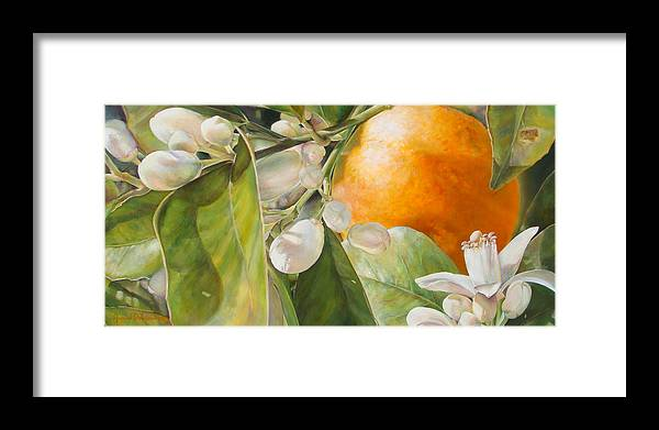 Floral Painting Framed Print featuring the painting Orange fleurie by Dolemieux