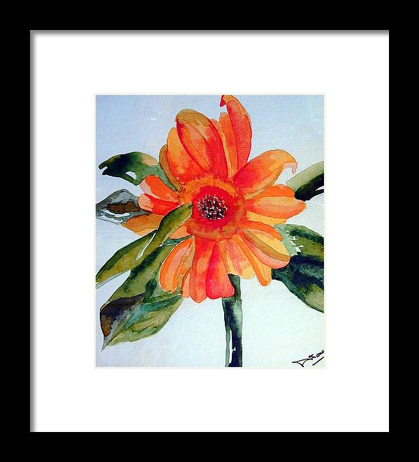 Florals Framed Print featuring the painting Orange Floral by Sandi Stonebraker