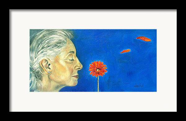 Flower Framed Print featuring the painting Orange Gerbera On Cobalt by Ixchel Amor