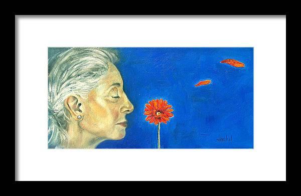 Flower Framed Print featuring the painting Orange Gerbera On Cobalt by Ixchel Amor