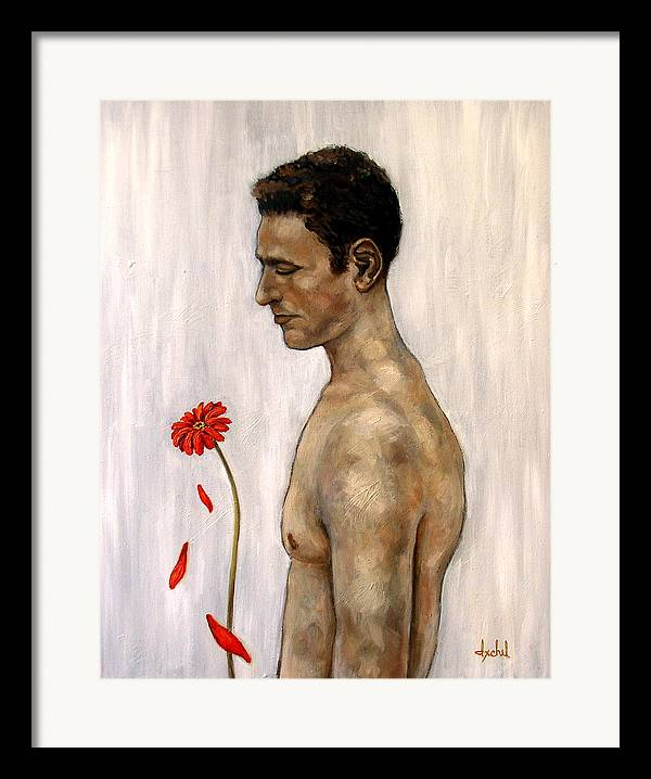 Man Framed Print featuring the painting Orange Gerbera On White by Ixchel Amor