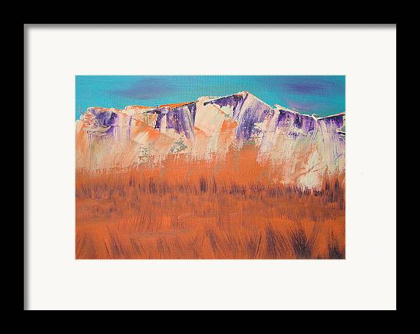 Mountains Framed Print featuring the painting Orange Grass by Liz Vernand