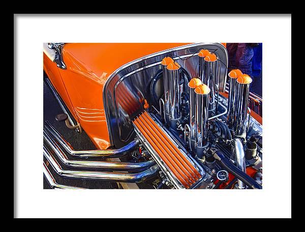 Orange Hot Rod Stacks Framed Print featuring the photograph Orange Hot Rod Stacks by Robert Grant