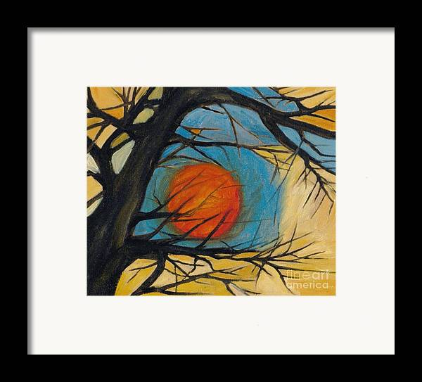 Absract Tree Landscape Original Painting Leila Atkinson Moon Framed Print featuring the painting Orange Moon by Leila Atkinson