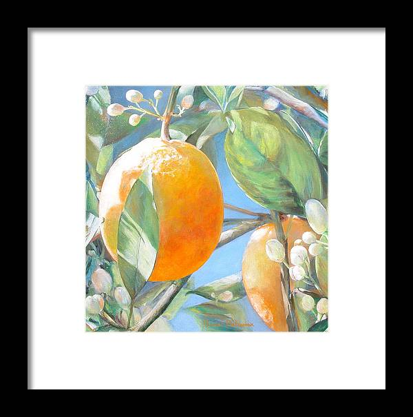 Floral Painting Framed Print featuring the painting Orange by Muriel Dolemieux