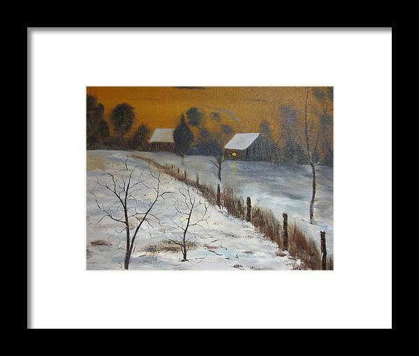 Landscape Framed Print featuring the painting Orange Night by Brian Hustead
