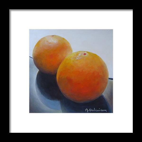 Acrylic Framed Print featuring the painting Orange Noir et Blanc by Muriel Dolemieux
