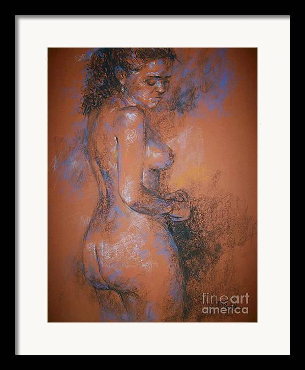 Figurative Framed Print featuring the painting Orange Nude by Tina Siddiqui