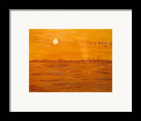 Orange Framed Print featuring the painting Orange Ocean by Ian MacDonald