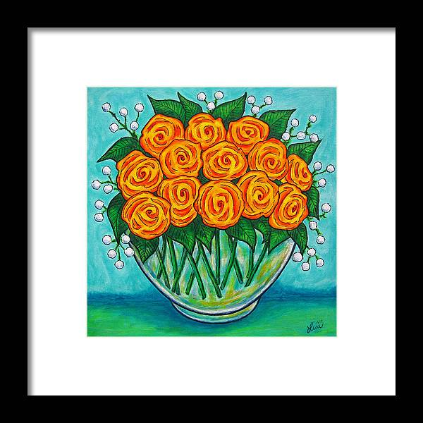 Orange Framed Print featuring the painting Orange Passion by Lisa Lorenz
