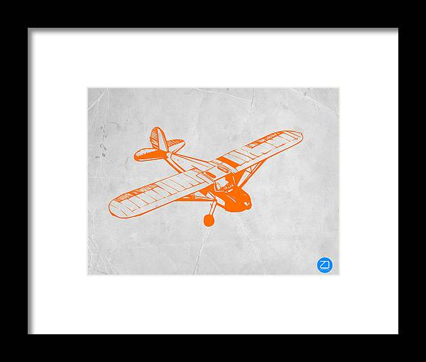 Plane Framed Print featuring the painting Orange Plane 2 by Naxart Studio