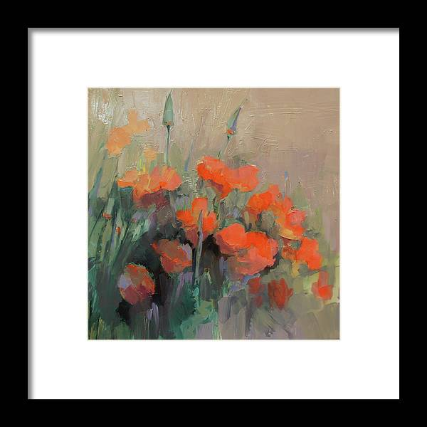 Floral Framed Print featuring the painting Orange Poppies by Cathy Locke